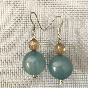 Jewelry - teal blue and smoky quartz beaded earrings